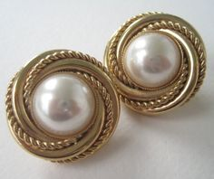Vintage 80s Traditional Preppy Signed Napier Chanel Style Goldtone Faux Pearl Cabochon Earrings by ThePaisleyUnicorn, $4.00