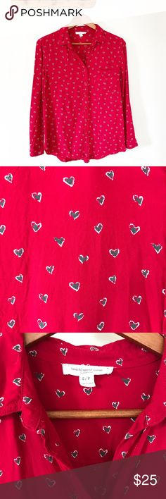 """Beach Lunch Lounge Red Hearts Graphic Button Down Beach Lunch Lounge red graphic heart print button down. Looser casual fit and super soft. Very romantic with gray and white drawn hearts. • Gently used condition • Button down neckline, long button tab sleeves, one chest pocket • Approx. measurements when laid flat: 20"""" bust, 28"""" length beach lunch lounge Tops Button Down Shirts"""