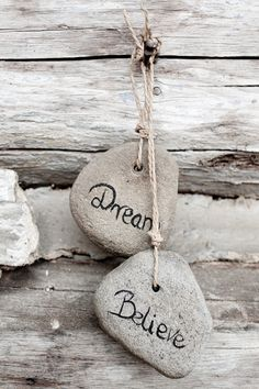 Simple pebble art: Dream, Believe, Achieve