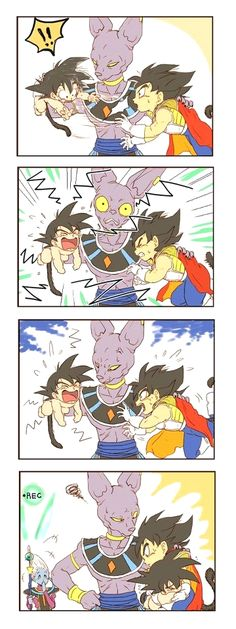 Baby Goku, Kid Vegeta and beerus. so cute how they portray vegeta all worried that goku will anger beerus. Dragon Ball Gt, Dragon Ball Z Shirt, Kid Vegeta, O Goku, Baby Vegeta, All Out Anime, Dbz Memes, Goku Meme, Anime Merchandise