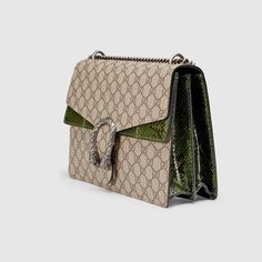 Gucci Women - Gucci Beige/Ebony Dionysus GG Supreme shoulder bag w/green Python detail - $2,900.00 Tiger Head, Gucci Fashion, Greek Gods, Dionysus, Beige, Shoulder Bag, Handbags, Chain, Luxury
