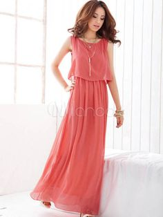 Bequemes Kleid aus Chiffon in Grün - Milanoo.com
