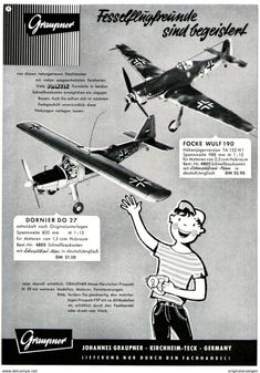 Original-Werbung/ Anzeige 1959 - MODELLE FOCKE WULF 190 / DORNIER DO 27 / GRAUPNER - KIRCHHEIM-TECK - Ca. 130 X 200 Mm - Werbung
