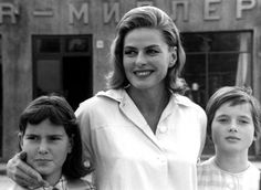 Ingrid Bergman (29 August 1915 – 29 August 1982) with her twin daughters Isota (left) Isabella Fiorella Elettra Giovanna Rossellini (right) (both born 18 June 1952).