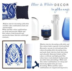 """Blue & White Decor"" by rachaelselina ❤ liked on Polyvore featuring interior, interiors, interior design, home, home decor, interior decorating, Arteriors, CB2, Kartell and Tom Dixon"