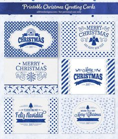 FREE Printable Christmas Cards in Sparkling Blue ON allfreedesigns.com