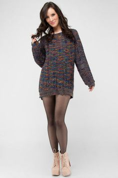 Multi colored sweater dress. Love this outfit!!! except for the shoes...