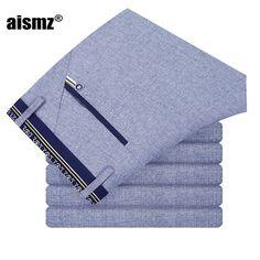 AISMZ Fashion Blue Male Thin Slim Cotton Pants Men's Elegant Elastic Leisure Long Trousers Men Business Casual Pants 8023-2