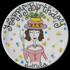 """A Personalized Hand Painted """"Happy Birthday"""" Ceramic Plate by LittleBugCeramics.com, $78.00"""