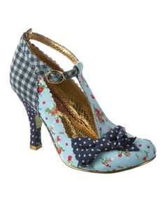 Another great find on #zulily! Blue Plaid & Floral Bloxy T-Strap Pump #zulilyfinds