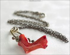 Oxidized Sterling Silver Red Coral Swing Necklace - Jewelry by Jason Stroud.