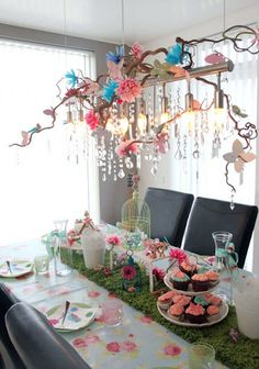 Love the idea of the stick with hanging woodland forest cut-outs. Best Kids Parties: Fairytale/Forest/Pet Shop Mashup My Party Garden Birthday, Fairy Birthday Party, 1st Birthday Parties, Girl Birthday, Spring Birthday Party Ideas, Butterfly Birthday Party, Birthday Table, 10th Birthday, Forest Party