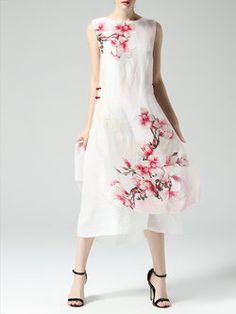 White A-line Floral Vintage Midi Dress
