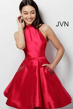 88576bfa9de Red High Neck Fit and Flare Homecoming Dress JVN62836  JVN  Homecoming   shortdress