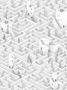 isometric on Behance Isometric Shapes, Isometric Drawing, Isometric Design, Monument Valley Game, Maze Drawing, Labyrinth Maze, Creative Labs, Mc Escher, Game Concept