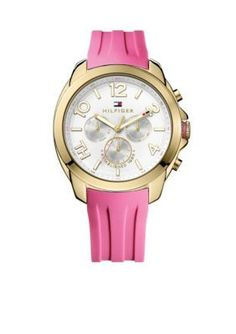 Tommy Hilfiger  Womens Multifunction Sport Gold-Tone and Pink Silicone