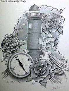 Diseño de faro hecho por Marco, de A Coruña (España). Si quieres ponerte en contacto con él para un diseño visita su perfil: http://www.zonatattoos.com/parasargo  #tattoos #tatuajes