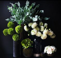 Green is even more invigorating when paired with black. Such a juicy colour combo, I love it! http://abigailahern.com/collections/flowers