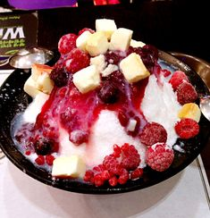 """Berry Yogurt Cheesecake Bingsu - Seoul, Korea """"Part of the secret of success in life is to eat what you like and let the food fight it out inside."""" ― Mark Twain"""