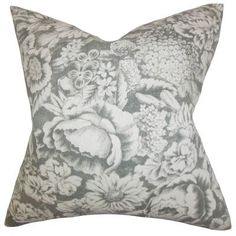 "The Pillow Collection Elspeth Floral Linen Throw Pillow Color: Gray, Size: 20"" x 20"""