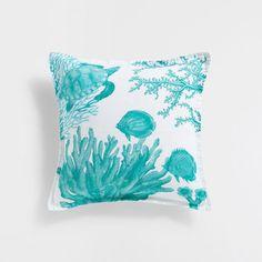 Image du produit Housse de coussin lin imprimée tortues turquoises