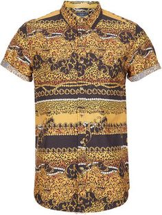 044767f4e8a Topman Baroque Leopard Print Short Sleeve Shirt - ShopStyle