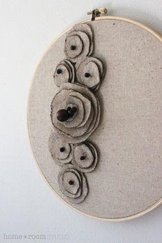 Embroidery Hoop Art  Felt Flowers  Oatmeal Poppy by HomeRoomStudio, $26.00