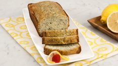 Lemon Poppy Seed Loaf - Recipes - Best Recipes Ever - Bring back warm memories of home with this lemon poppy seed loaf recipe! With tangy citrus syrup that seeps addictively into the cake, this lemon poppy seed loaf is a popular make-ahead bread. Loaf Recipes, Baking Recipes, Dessert Recipes, Desserts, Dessert Ideas, Lemon Poppy Seed Loaf, Lemon Loaf, Good Food, Yummy Food