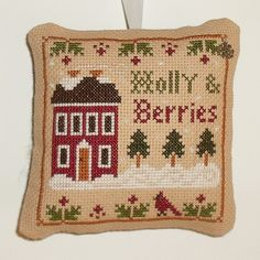 Completed Cross Stitch Holly Berries Little House by arcadecache