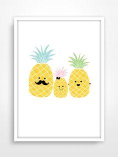 Affiche/Poster/Print A3 * Famille Ananas. Pineapple. : Chambre d'enfant, de bébé par pagaille-et-cie