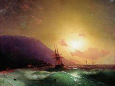 Ajvazovskij Ivan Konstantinovich - Off the coast of Yalta, Айвазовский Иван Константинович У берегов Ялты. 1864