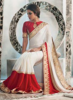 White Bulk Designer Saree With Lace Border Work