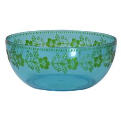 Salad Bowl in Turquoise Acrylic with Green Embossed Flowers - Rice A/S