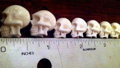 Carved Bone Skull Beads -8- Hand Carved in Bali