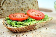 avocado and tomato spreaded onto a thick slice of whole grain bread Whole Grain Bread, Salmon Burgers, Avocado Toast, Healthy Recipes, Healthy Food, Happy Healthy, Healthy Habits, Favorite Recipes, Nutrition