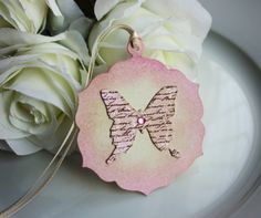 Script Butterfly Vintage Style Tags - Set of 5 £3.50