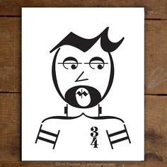 Rock on! This guy is created entirely with music notes and symbols. Archival quality fine art print is printed in deep black on bright white, acid-free, 100% cotton rag 64lb fine art paper, and is ava