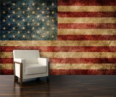 Wall mural, Vintage American flag mural, Repositionable peel & stick wall paper.