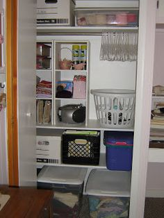 Well, *sigh* this has been a one different month for me. I was going to organize my whole sewing room, but I just got to the closet and my s. Sewing Closet, My Sewing Room, Sewing Rooms, Room Closet, Closet Space, Craft Closet Organization, Organizing Ideas, Clothes Shelves, Clothes Basket