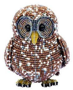 Beadworx Glass Beads Beaded Wire Spotted Owl Intricate Wrapped Metal Bird   eBay