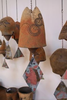 Sunny Ceramic Bells in the Gallery at Arcosanti!