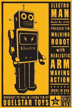 retro robot art print electroman tin toy robot box by johnwgolden 3000 - Affiche Garcon Robot