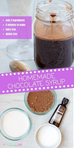 brown bottle of chocolate syrup with this homemade version and use to top ice cream yogurt or fruit or to make your own homemade chocolate milk. Because this recipe is dairy free and gluten free everyone can enjoy this sweet homemade syrup. Chocolate Syrup Recipes, Homemade Chocolate Syrup, Chocolate Fudge Sauce, Chocolate Sundae, Homemade Syrup, Cocoa Recipes, Chocolate Topping, Milk Recipes, Ice Cream Recipes