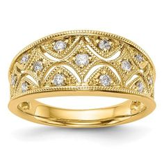 14K Diamond Band. Material: Primary - Purity:14K|Finish:Polished|Stone Type_1:Diamond|Stone Type_2:Diamond|Stone Type_3:Diamond|Stone Type_4:Diamond|Stone Quantity_1:1|Stone Quantity_2:2|Stone Quantity_3:6|Stone Quantity_4:4|Plating:Rhodium|Band Width:9.4 to 2.8 mm (tapered)|Stone Weight_1:0.025 ct|Stone Weight_2:0.0225 ct|Stone Weight_3:0.02 ct|Stone Weight_4:0.015 ct|Stone Clarity_1:I1 (AA)|Size (Minimum):6|Size (Maximum):8|Sizing Adjustment Increment:0.25|Feature:Solid|Manufacturing…