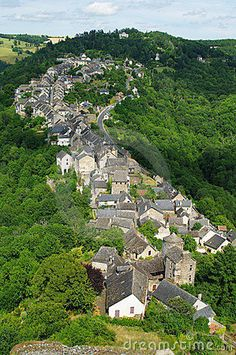 the town of Najac in #France taken from the window of the medieval castle of Najac
