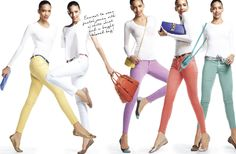 Colored denim is easiest with a white top and bright bag. @Lord & Taylor http://getth.at/lob68