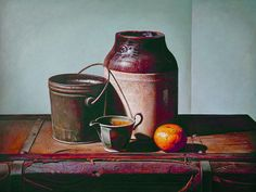 """""""Still life with Tangerine"""", Egg Tempera on Panel, 30"""" X 40"""", 2010  www.johnwhalley.com"""