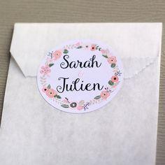 lot de 12 stickers blancs ronds personnalisables avec vos prnoms stickers couronne de fleurs - Tiquettes Autocollantes Mariage