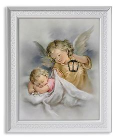 Guardian Angel With Lamp Watching Over Baby Print In Frame Beautiful and sweet guardian angel watching over sleeping baby. Perfect gift for any child, birthday or baptism. Measures at W x H Religious Gifts, Religious Art, Guardian Angel Images, Baptism Gifts For Girls, Christian Posters, Religious Pictures, Catholic Art, Spiritual Gifts, Celestial