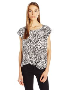Joie Women's Rancher Lip Leopard Print Blouse, Porcelain, S. Short sleeve. Lip print.